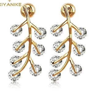 PREVIEW Crystal AAA Zircon Gold Leaf Earrings